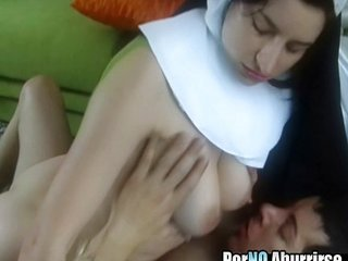 Amateur Natural Nun Riding Teen Uniform