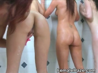 College Amateur Girls Showering Together At Hazing Party