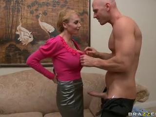Taylor Wane hot milf sucking a hard cock on couch