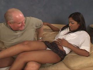 Grandpa enjoying threeway attention with hot babes