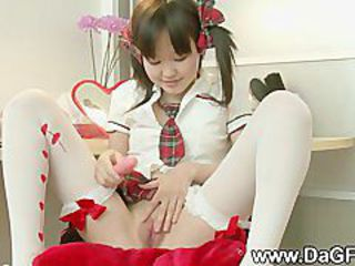 Asian Babe Cute Pigtail Pussy Shaved Stockings Teen Uniform