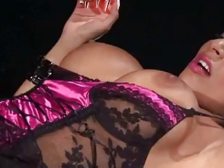 Hot Brunette in Lingerie and Stockings Smoking Sex