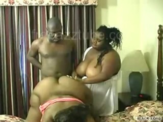 BBW Big Tits Ebony MILF Threesome