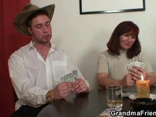 Granny plays strip poker then gets double ...