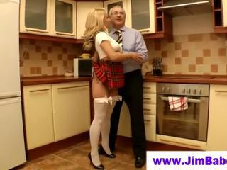 Babe Blonde Kitchen Old and Young Stockings