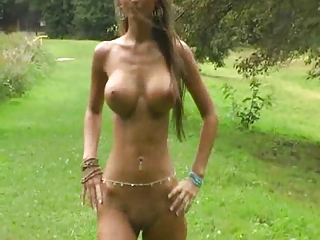 CRAZY hot nude Euro chick parades around in a field