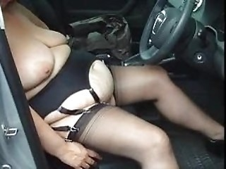 Amateur BBW Car SaggyTits Stockings Wife