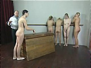Party babes get naked and lined up for some rear end whipping
