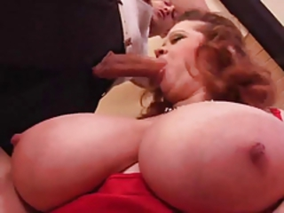 Chubby redhead with huge natural hangers getting screwed