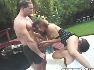 Naughty Brunette Gets Fucked By Two..