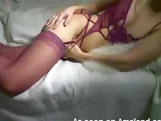 Raunchy Blonde in Lingerie Enjoys..