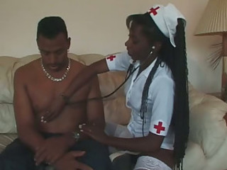 Radiant Ebony Nurse Finds Thick Dick..