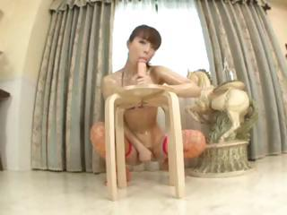 Asian Babe Dildo Fishnet Japanese Oiled Solo Toy