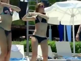 Amateur Bikini Dancing Outdoor Pool Public Teen