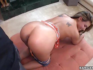 Chick takes her first big black cock doggy style