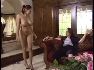 Natural hottie dances for him and gobbles cock