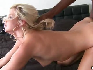 Hot blonde milf Anikka Albright takes thick black pole