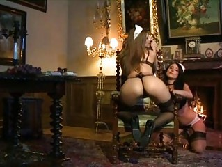 Two extremely hot lesbian maids playing with dildos
