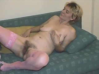 Hairy Mature in Pink Stockings Strips