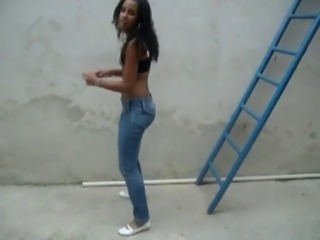 Amateur Dancing Ebony Jeans Outdoor Teen