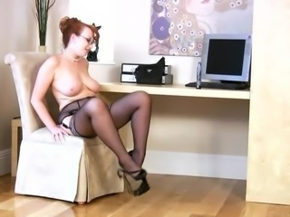 Chubby Glasses MILF Natural Redhead SaggyTits Stockings