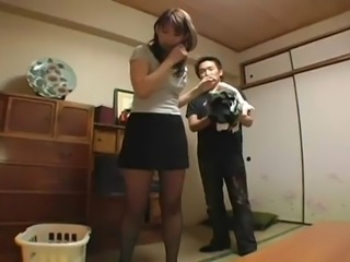 Asian Japanese MILF Pantyhose Skirt