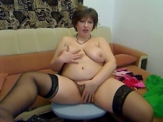 Chubby Hairy Masturbating MILF Natural Stockings Webcam