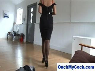 laughing MILF in lingerie gives harsh handjob