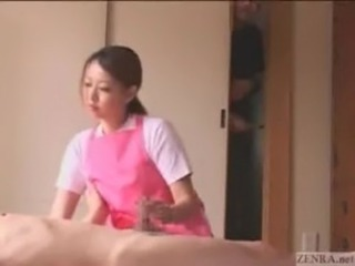 Asian CFNM Handjob Japanese MILF Small cock Voyeur