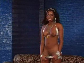 Black chick in silver bikini takes big white cock