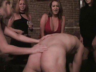 Horny bitches abuse naked dude