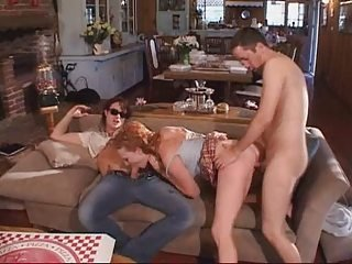 Blowjob Clothed Hardcore Redhead Teen Threesome