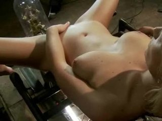 Blonde sexy bitch lets herself fucked by a bunch of toys inside her large opened pussy