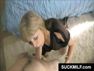 Hot blonde housewife wraps her lips around a cock until he cums