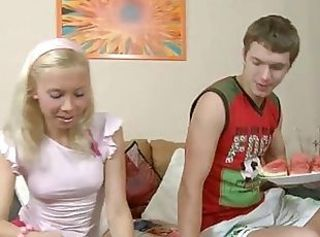 Wild teen mounts a huge dick _: teen blondes