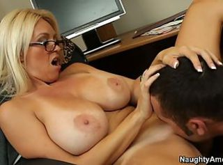 Amazing Big Tits Blonde Glasses Licking MILF Pornstar Teacher