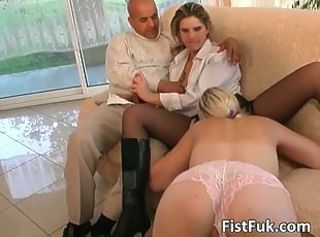 Two horny sluts get fucked and fingered