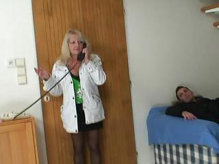 Blonde Grandma Inside Chocolate Stockings Bonks
