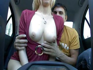 Naughty Blonde Fucked In Backseat