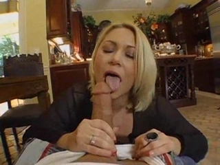 Busty Blond Babe Playing With Huge Cock
