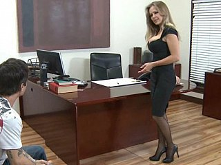 Babe Blonde MILF Office Secretary Stockings