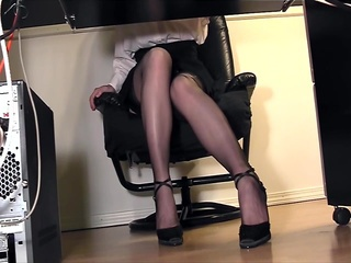 Leggy secretary fingering at A...