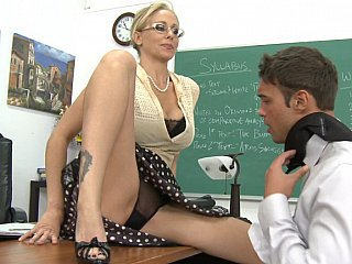 Amazing Blonde Glasses Lingerie MILF Panty Pornstar School Teacher