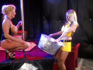 Busty Blond Chicks Playing With Their Fe...