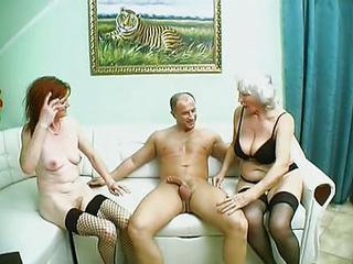 Bus Granny Stockings Threesome