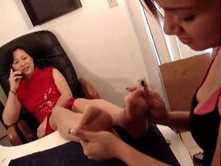 Asian Mistress Stockings Foot...