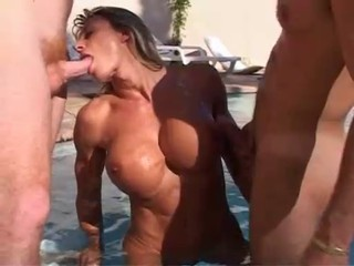 Blowjob Mature Muscled Pool Threesome
