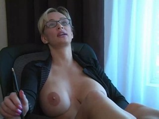 Big Tits Blonde Glasses MILF Office Silicone Tits