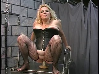 Blonde Corset Dildo MILF Stockings
