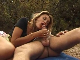 Blonde Blowjob Hairy MILF Outdoor
